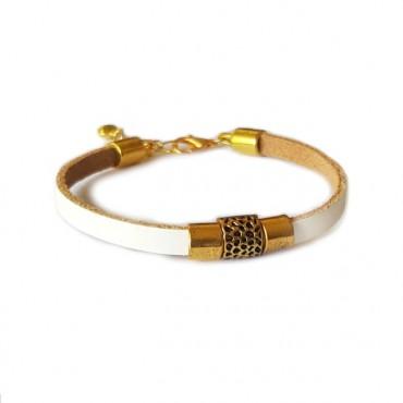 Armband | leder | Golden tubes
