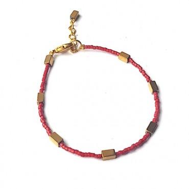 Armband | FINE MIYUKI | Hematiet Rood