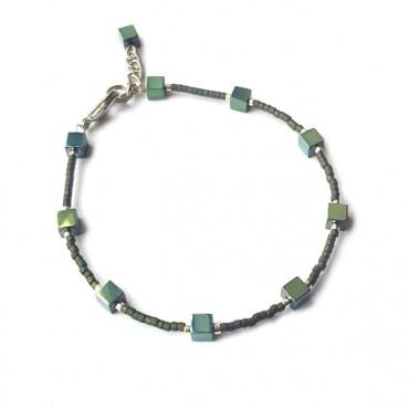 Armband | FINE MIYUKI | Hematiet Square Groen