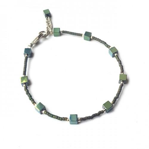 Armband   FINE MIYUKI   Hematiet Square Groen