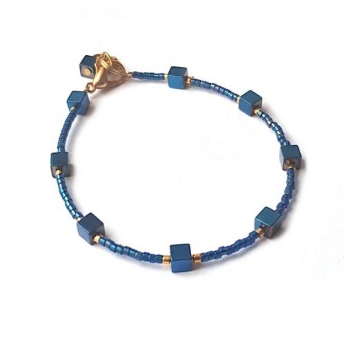 Armband   FINE MIYUKI   Hematiet Square Blauw