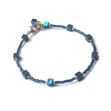 Armband | FINE MIYUKI | Hematiet Square Blauw