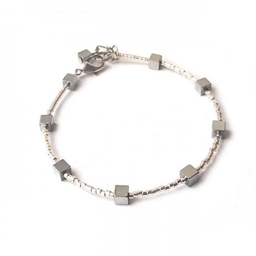 Armband   FINE MIYUKI   Hematiet Square Zilver