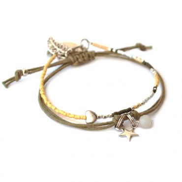 Armband Set T I N Y Star & Heart Oker / Groen