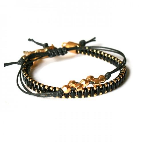 Armband Set Lucky Woven Treasure Zwart/Goud