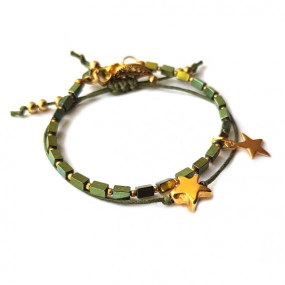 Armband Set Star groen/Goud