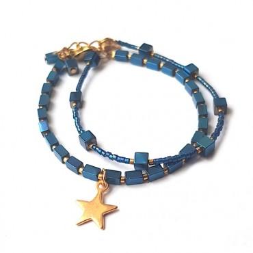 Armband Set | Hematite Star | Blauw