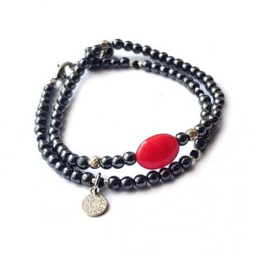 Armband Set | Hematite | Red Stone