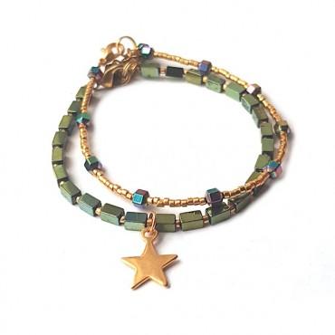 Armband Set | Hematite Multi/Star | groen