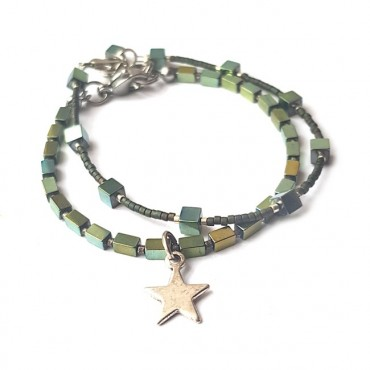 Armband Set | Hematite Star | groen