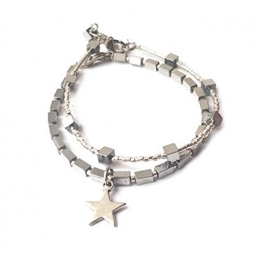 Armband Set | Hematite Star | zilver