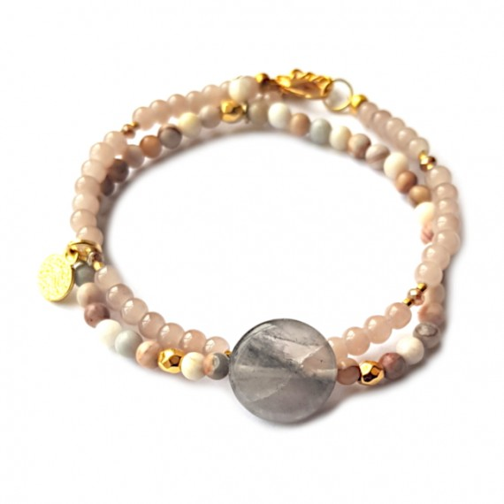 Armband Set Agaat/Glas Rozegrijs