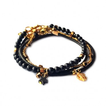 Armband Set Black & Gold