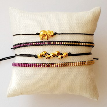 Armband Set Woven Treasure fuchsia zilver/Goud