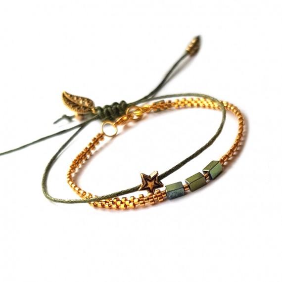 Armband Set  L A C E  groen
