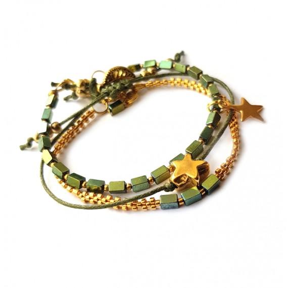 Armband Set  L A C E  hematiet groen