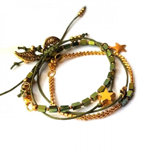 Armband Set  L A C E  hematiet groen/Gold