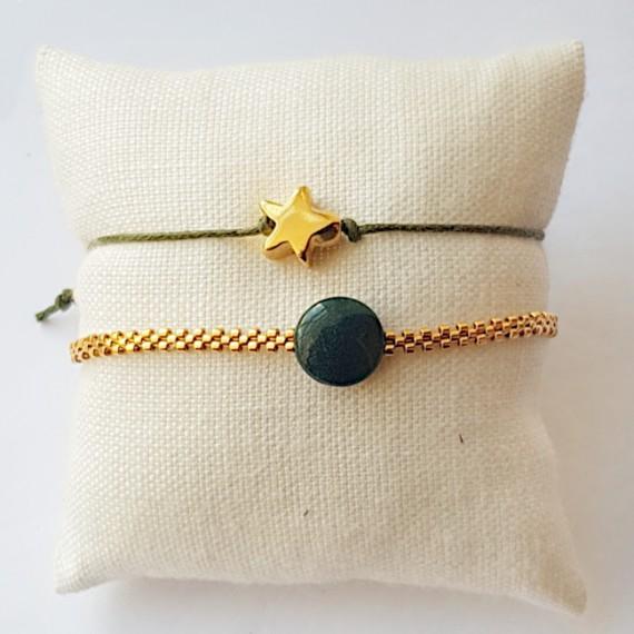 Armband Set Woven Treasure groen zilver/Goud