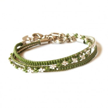Armband Set Woven Treasure Mix groen