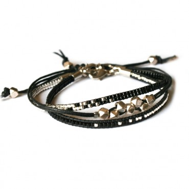 Armband Set Woven Treasure Miyuki zwart