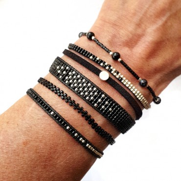 Armband Woven Treasure Double Zwart