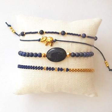 Armband Set Woven Treasure blauw zilver/Goud