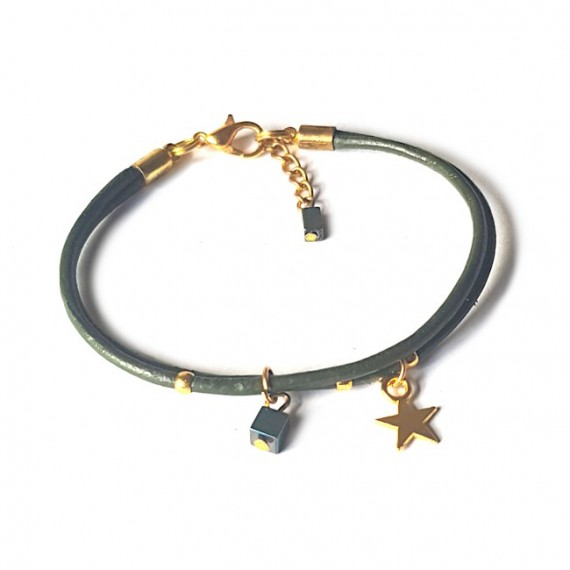 Armband | Fine Leather | Star Green