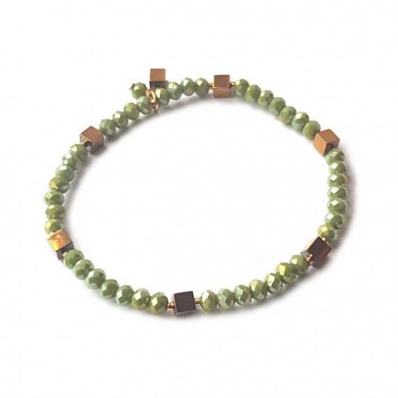 Armband | Facet-Hematiet | Groen