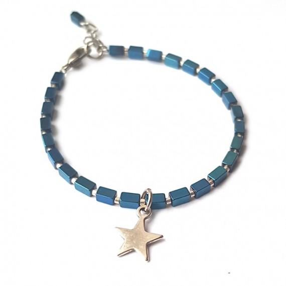 Armband | Hematite Star | blauw