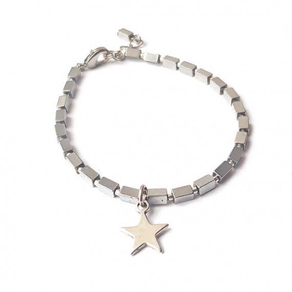 Armband | Hematite Star | Zilver
