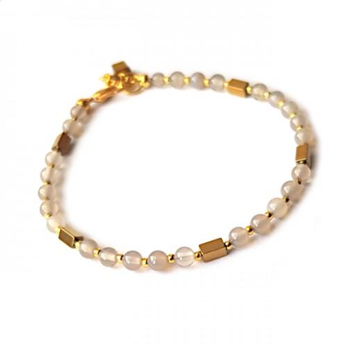 Armband Agaat/Hematiet Grijs