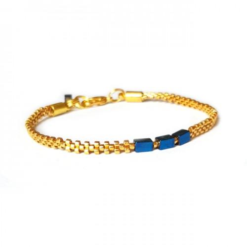 Armband L A C E  Hematite Blue Zilver/Goud