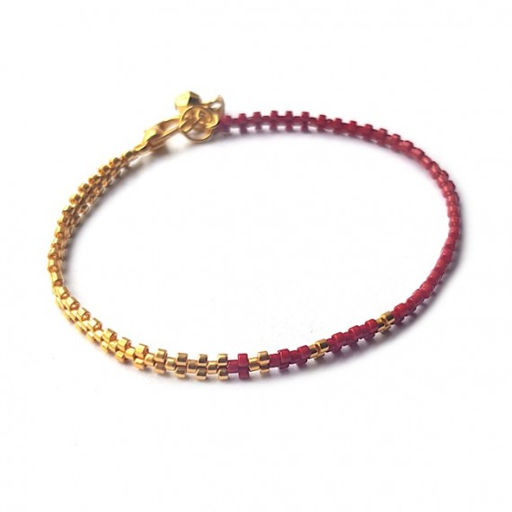 Armband   L A C E Donkerrood   Zilver of Goud