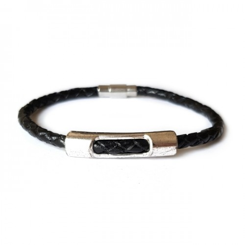 Armband Leder TUBE Zwart