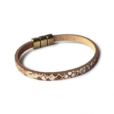 Armband Combi Leder Snake & Agaat