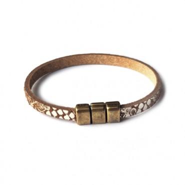 Armband leder Snake Taupe