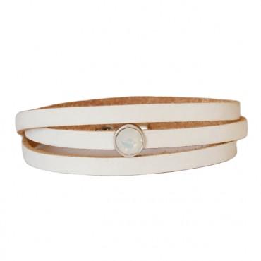 Armband Leder cabochon kristal wit
