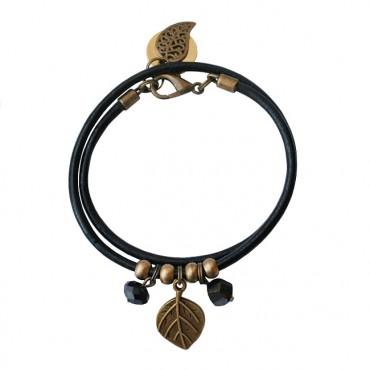 Armband Leder Blad Brons zwart