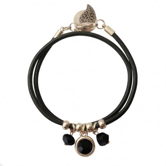 Armband Leder Kristal Extra zwart