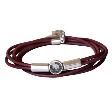 Armband leder tube kristal bordeaux