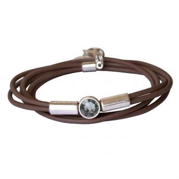 Armband leder tube kristal bruin