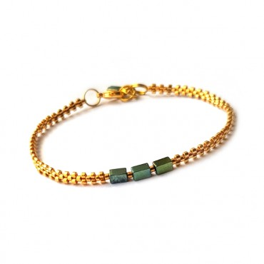 Armband L A C E  Hematite Green