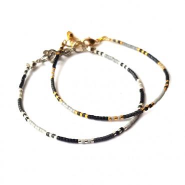 Armband T I N Y Miyuki Zwart Grijs | Zilver of Goud