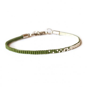 Armband Woven Treasure Double Legergroen