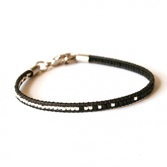Armband Woven Treasure Miyuki leder zwart