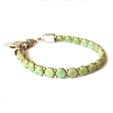 Armband Woven Treasure Honeycomb Green Picasso