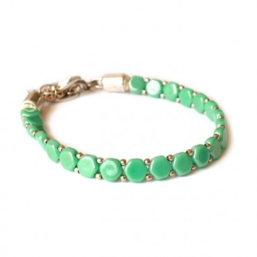 Armband Woven Treasure Honeycomb Groen Turkoois