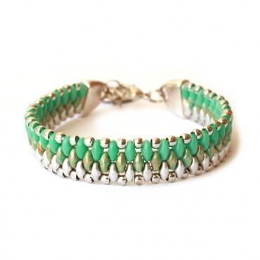 Armband Woven Treasure Flow Groen / Zilver