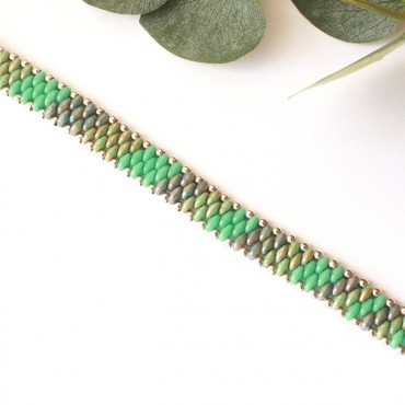 Armband Woven Treasure Stripes Groen / Blauw