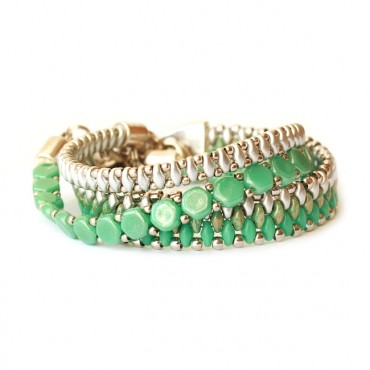 Armband Set WOVEN TREASURES Flow Groen / Zilver